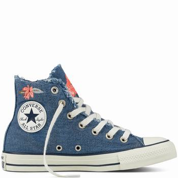 Női Converse Chuck Taylor All Star Frayed Denim Magasszárú Cipő | 683AENDU