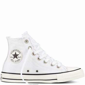 Női Converse Chuck Taylor All Star Frayed Denim Magasszárú Cipő | 631HFDTN