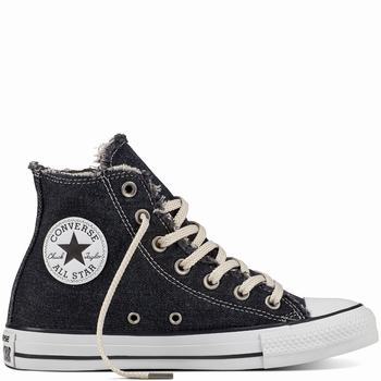 Női Converse Chuck Taylor All Star Denim Washed Magasszárú Cipő | 610RLFJQ